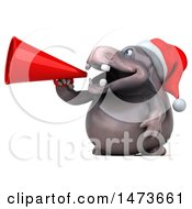 Clipart Of A 3d Christmas Henry Hippo Character Using A Megaphone On A White Background Royalty Free Illustration by Julos