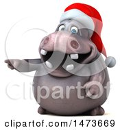 Clipart Of A 3d Christmas Henry Hippo Character Pointing On A White Background Royalty Free Illustration by Julos