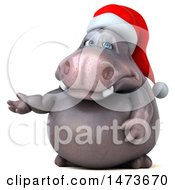 Clipart Of A 3d Christmas Henry Hippo Character Presenting On A White Background Royalty Free Illustration by Julos