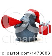 Clipart Of A 3d Christmas Gorilla Mascot On A White Background Royalty Free Illustration by Julos
