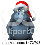 Clipart Of A 3d Christmas Gorilla Mascot On A White Background Royalty Free Illustration