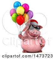 Clipart Of A 3d Christmas Chubby Pig On A White Background Royalty Free Illustration
