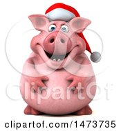 Clipart Of A 3d Christmas Chubby Pig On A White Background Royalty Free Illustration by Julos