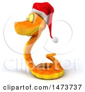 Clipart Of A 3d Orange Christmas Snake Wearing A Santa Hat On A White Background Royalty Free Illustration