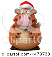 Clipart Of A 3d Brown Christmas Cow Character On A White Background Royalty Free Illustration