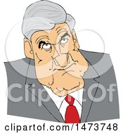 Clipart Of A Caricature Of Robert Mueller Royalty Free Vector Illustration