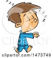 Poster, Art Print Of Cartoon Boy Sleep Walking