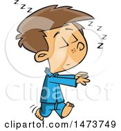 Clipart Of A Cartoon Boy Sleep Walking Royalty Free Vector Illustration