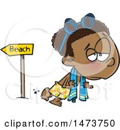 Poster, Art Print Of Cartoon Depressed Boy Leaving The Beach After Summer Vacation