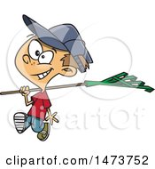 Clipart Of A Cartoon Boy Carrying A Rake Royalty Free Vector Illustration by toonaday