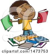 Clipart Of A Cartoon Happy Black School Boy With Books Royalty Free Vector Illustration
