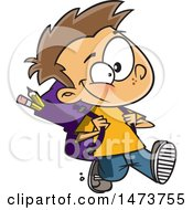 Clipart Of A Cartoon School Boy Walking Royalty Free Vector Illustration