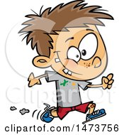 Clipart Of A Cartoon Boy Running With Splatters On His Shirt Royalty Free Vector Illustration by toonaday