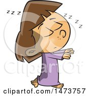 Clipart Of A Cartoon Girl Sleep Walking Royalty Free Vector Illustration