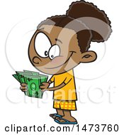 Clipart Of A Cartoon Girl Counting Her Cash Money Royalty Free Vector Illustration