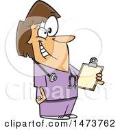 Poster, Art Print Of Cartoon Happy Female School Nurse Holding A Clipboard