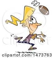 Clipart Of A Cartoon Woman Playing Football Royalty Free Vector Illustration