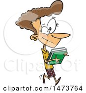 Clipart Of A Cartoon Business Woman Carrying Books Royalty Free Vector Illustration