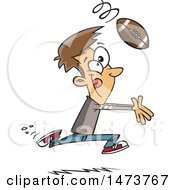 Clipart Of A Cartoon Catching A Football Royalty Free Vector Illustration