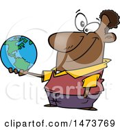 Clipart Of A Cartoon Male Teacher Holding A Globe Royalty Free Vector Illustration