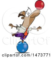 Cartoon Business Man On A Ball Balancing Another On His Nose