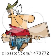 Clipart Of A Cartoon Happy Carpenter Carrying A Board Royalty Free Vector Illustration