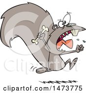Clipart Of A Cartoon Raging Carnivorous Squirrel Holding A Bone Royalty Free Vector Illustration