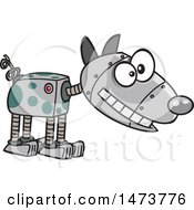 Clipart Of A Cartoon Robotic Dog Royalty Free Vector Illustration