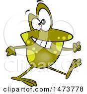 Clipart Of A Cartoon Happy Frog Taking A Stroll Royalty Free Vector Illustration by toonaday