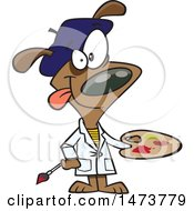 Clipart Of A Cartoon Dog Artist Painter Holding A Palette Royalty Free Vector Illustration