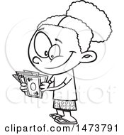 Clipart Of A Cartoon Lineart Girl Counting Her Cash Money Royalty Free Vector Illustration