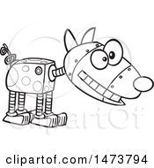 Clipart Of A Cartoon Lineart Robotic Dog Royalty Free Vector Illustration