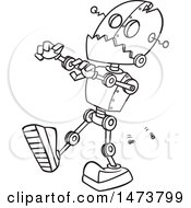 Clipart Of A Cartoon Lineart Zombie Robot Royalty Free Vector Illustration by toonaday