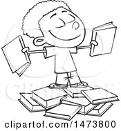 Clipart Of A Cartoon Lineart School Boy With Books Royalty Free Vector Illustration