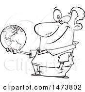 Cartoon Outline Male Teacher Holding A Globe