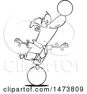 Clipart Of A Cartoon Lineart Business Man On A Ball Balancing Another On His Nose Royalty Free Vector Illustration