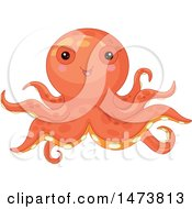 Clipart Of A Cute Orange Baby Octopus Royalty Free Vector Illustration by Pushkin