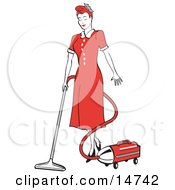 Red Haired Housewife Or Maid Woman In A Long Red Dress And Heels, Using A Canister Vacuum To Clean The Floors