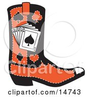Black And Red Cowboy Boot With Playing Cards And Silhouettes Of A Spade Club Diamond And Heart