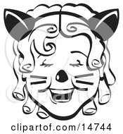 Retty Curly Haired Girl Wearing A Cat Eared Headband On Halloween Black And White Clipart Illustration
