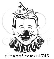 Jolly Freckled Boy With A Clown Nose Party Hat And Collar Laughing