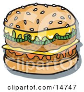 Tasty Double Cheeseburger With Two Meat Patties Pickles Ketchup And Melted Cheese On A Sesame Seed Bun Clipart Illustration by Andy Nortnik