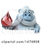 Clipart Of A 3d White Monkey Yeti On A White Background Royalty Free Illustration by Julos