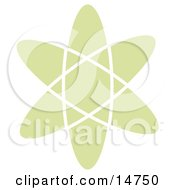 Green Atom Over A White Background Clipart Illustration