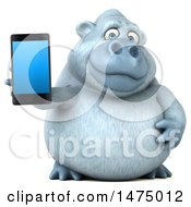 Poster, Art Print Of 3d White Monkey Yeti Holding A Smart Phone On A White Background