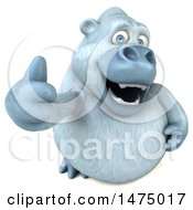 Poster, Art Print Of 3d White Monkey Yeti Giving A Thumb Up On A White Background