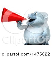 Poster, Art Print Of 3d White Monkey Yeti Using A Megaphone On A White Background