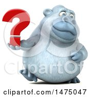 Poster, Art Print Of 3d White Monkey Yeti On A White Background