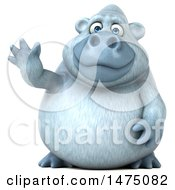 Clipart Of A 3d White Monkey Yeti Waving On A White Background Royalty Free Illustration