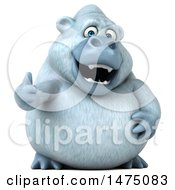 Clipart Of A 3d White Monkey Yeti Giving A Thumb Up On A White Background Royalty Free Illustration